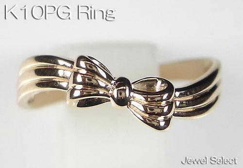 K10PG ピンクゴールド リボン リング 指輪 ギフト対応