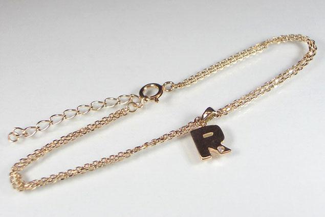 K10PG ピンクゴールド ブレスレット アルファベット R ダイヤモンド 0.01ct 18cm ギフト対応