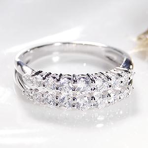 ジュエリー・アクセサリー・レディース・指輪・リング・プラチナ・ダイヤモンド・ダイヤ・二連・2連・重ねづけ・プレゼント・pt950・ダイア・4月誕生石・送料無料・代引手数料無料・品質保証書
