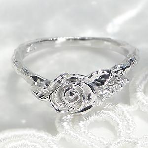ファッション・ジュエリー・アクセサリー・レディース・指輪・リング・ホワイトゴールド・ダイヤモンド・ダイヤ・K18・ローズ・薔薇・バラ・ROSE・ダイア・4月誕生石・送料無料・品質保証書・ギフト・プレゼント・刻印無料