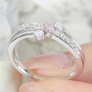 pt950 天然ピンクダイヤモンド リング プラチナ ダイヤモンド ダイヤ 大粒 エンゲージリング 婚約指輪 結婚 ブライダル ウエーブ ウェーブ 一粒 記念日 プレゼント  代引手数料無料 品質保証書 刻印無料 誕生日 クリスマス