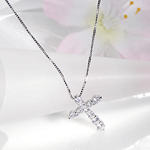 ジュエリー・アクセサリー・レディース・ネックレス・ペンダント・プラチナ・ダイヤモンド・SI・0.5ct・0.5カラット・クロス・10粒・10年・10周年・ダイアモンド・ダイア・送料無料・代引手数料無料・品質保証書