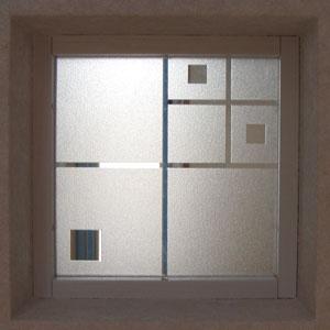 【JHAデザインガラス】 エッチングガラス(スリ) Mi-KS3-S 145X145ミリ【小窓用】(ガラスのみ)(おしゃれ 室内窓 小窓 FIX窓 ドア シンプル レトロ モダン 古民家 間仕切り壁 建具 キッチン リビング トイレ リフォーム 新築)