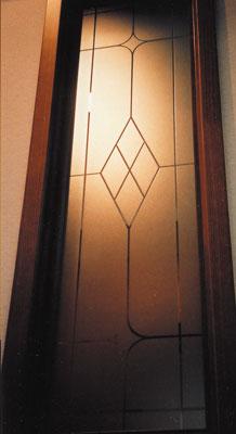 【JHAデザインガラス】 エッチングガラス(スリ) KC1(A)-大 295X1095(ガラスのみ)(おしゃれ 室内窓 小窓 FIX窓 ドア シンプル レトロ モダン 古民家 間仕切り壁 建具 キッチン リビング トイレ リフォーム 新築)