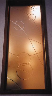 【JHAデザインガラス】 エッチングガラス(スリ) KC6(B)-大 295X1095(ガラスのみ)(おしゃれ 室内窓 小窓 FIX窓 ドア シンプル レトロ モダン 古民家 間仕切り壁 建具 キッチン リビング トイレ リフォーム 新築)