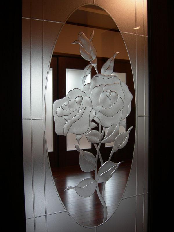 【JHAデザインガラス】 エッチングガラス(深彫り)ED-LG46バラ-495X1695ミリ(ガラスのみ)(おしゃれ 室内窓 FIX窓 ドア シンプル レトロ モダン 古民家 間仕切り壁 建具 キッチン リビング トイレ リフォーム 新築)