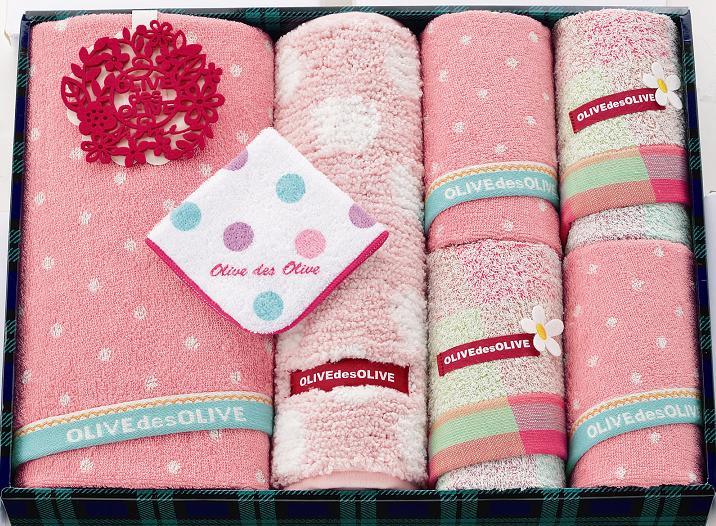 【送料込み】【送料無料】P オリーブデオリーブカリーノタオルセット(ピンク)【出産内祝いギフトに最適です。】【出産内祝い 送料無料】【内祝い お返し】
