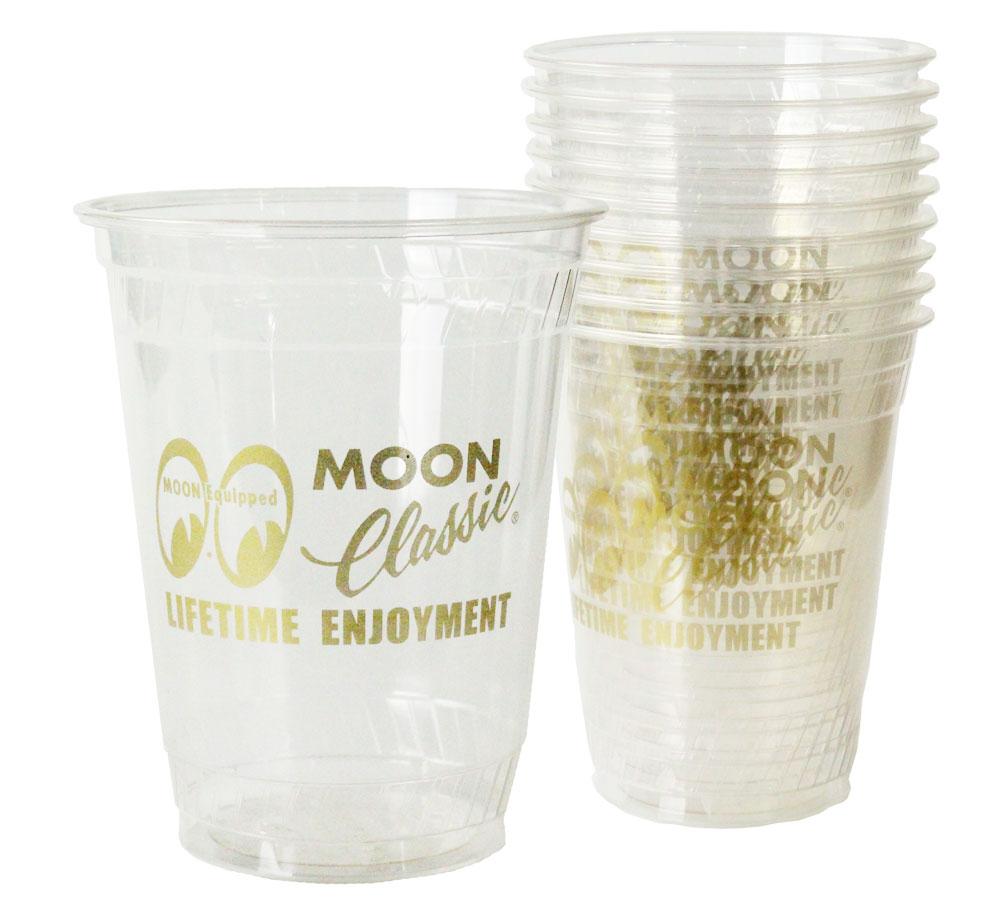 ムーン クラシックらしいゴージャスなゴールドプリントがCQQL 再再販 定番 ムーンアイズ プラカップ プラスチック コップ 使い捨て ムーンクラシック セット アウトドア キャンプ 10個セット_TW-QMG030-MON MOONEYES プラスチックカップ