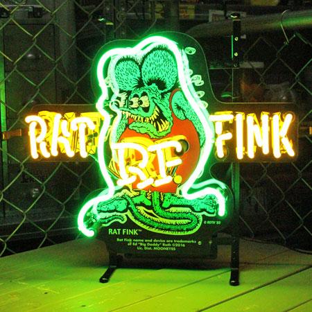 ラットフィンク ネオンサイン ネオン管 アメリカ キャラクター ホットロッド ガレージ インテリア Rat Fink アメリカ アメリカン雑貨_ZZ-RAF473-MON