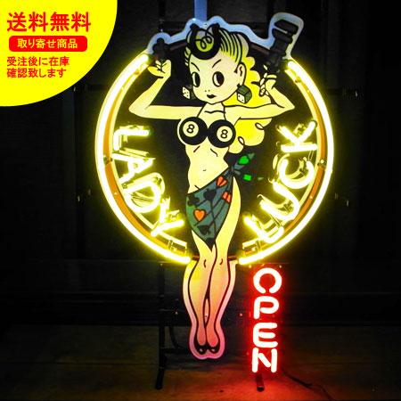 ネオンサイン ネオン 看板 電飾看板 ライト インテリア アメリカン 店舗 ショップ OPEN セクシー LADY LUCK_NS-006-SHO