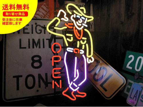 ネオンサイン ネオン 看板 電飾看板 ライト インテリア アメリカン 店舗 ショップ アパレル レストラン COW BOY OPEN_NS-043-SHO