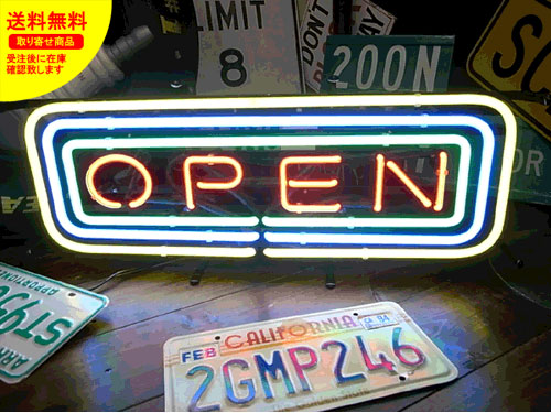 ネオンサイン ネオン 看板 電飾看板 ライト インテリア アメリカン 店舗 ショップ OPEN FRAME サイズL_NS-081-SHO