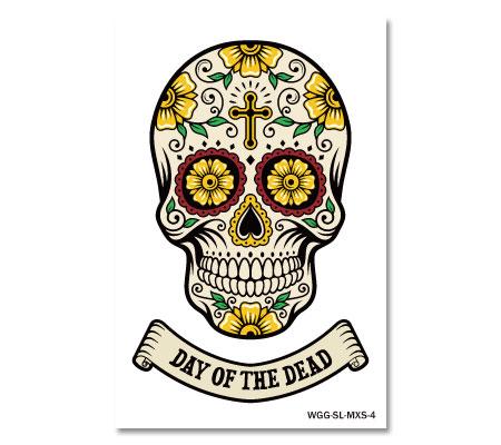 デザイン性の高いメキシカンスカルでちょい怖オシャレアピール ステッカー スカル メキシカンスカル フェイスシール アメリカン 車 おしゃれ かっこいい アウトドア スーツケース バイク SKULL ハロウィン THE メール便OK MEXICAN イエロー _SC-MXS4-AHD DAY 新着セール OF カーステッカー 注文後の変更キャンセル返品 DEAD