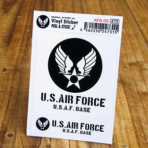 大小2枚セットの米空軍ステッカー 開店記念セール ミリタリー空間の演出に ステッカーセット 驚きの値段で 車 ミリタリー US AIR FORCE アメリカ空軍 世田谷ベース バイク メール便OK 2P ブラック おしゃれ _SC-AFS03-GEN かっこいい アメリカン
