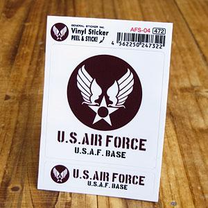 大小2枚セットの米空軍ステッカー ミリタリー空間の演出に ステッカーセット 車 引出物 ミリタリー US AIR FORCE アメリカ空軍 _SC-AFS04-GEN メール便OK アメリカン 2P バイク ブラウン おしゃれ かっこいい 世田谷ベース 5☆大好評
