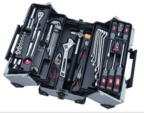 SK3561WZ KTC 9.5sq 56点組 シルバー 工具セット(両開きメタルケースタイプ)
