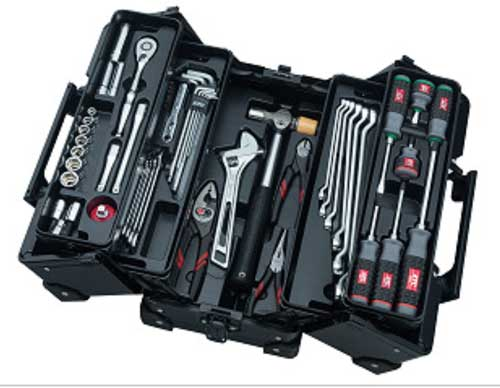SK3561WZGBK KTC 9.5sq 56点組 ブラック 工具セット(両開きメタルケースタイプ)