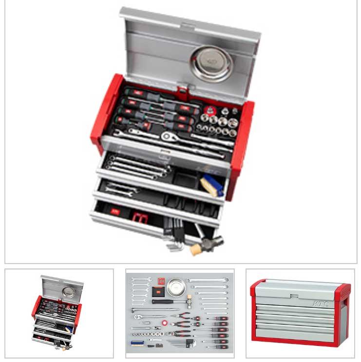 SK46120E KTC シルバー×レッド 12.7sq 61点組 工具セット(チェストタイプ)豪華商品プレゼント