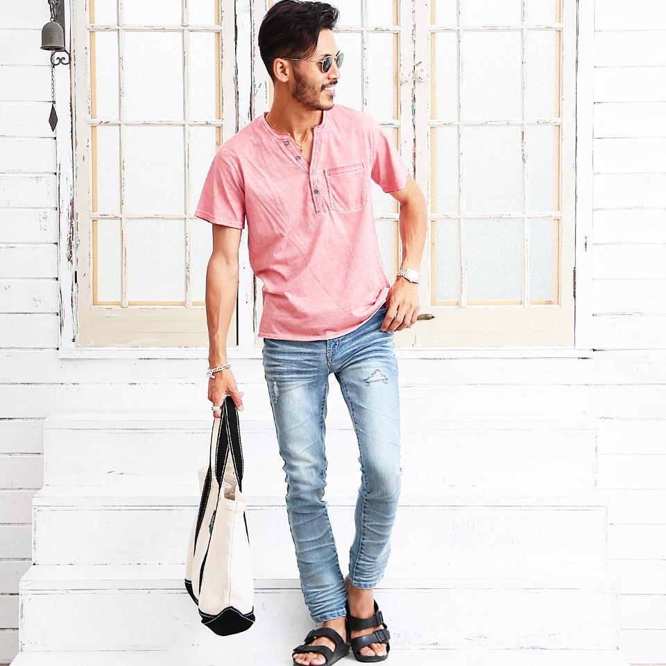 ◆COLD DYE加工Tシャツ◆Tシャツ メンズ おしゃれ ティーシャツ 半袖 カットソー トップス メンズファッション 春 春服 春物 夏 夏服 夏物 ヘンリーネック 綿 綿100% グレー ピンク ブルー