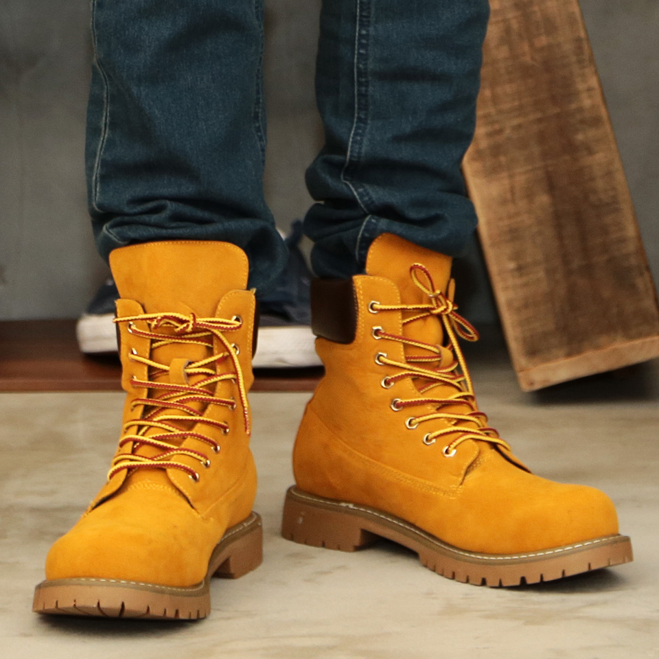 Boots men yellow boots ◆ roshell (Rochelle) fake suede work boots ◆ work  boots shoes suede suede cloth short,short boots shoes leather black men