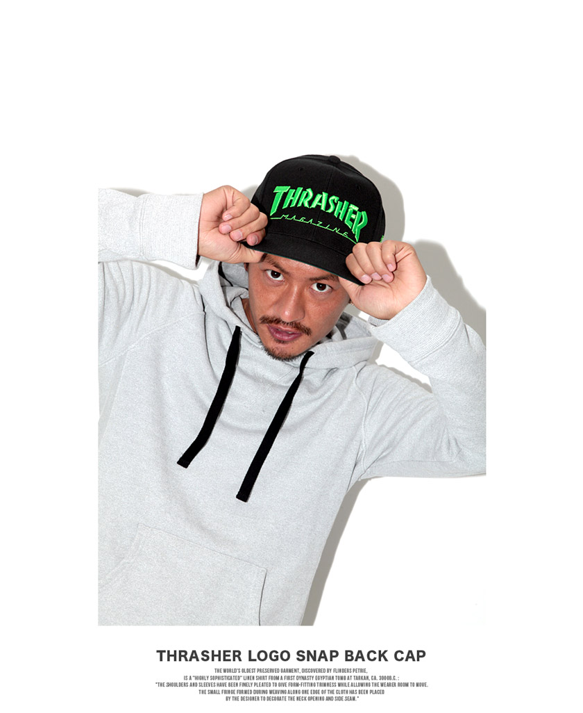 ◆THRASHER Logo Snapback Hat◆men's hat/men's cap/men's snapback/men's fashion/women's fashion/logo printed hat/THRASHER/Japan model