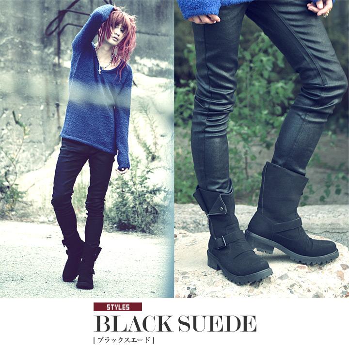 ◆SEANA biker boots◆engineer boots/men's long boots/short boots/shoes/footwear/Japanese grunge style/leather/suede/black/monochrome/punk rock/men's fashion/autumn fashion/winter fashion