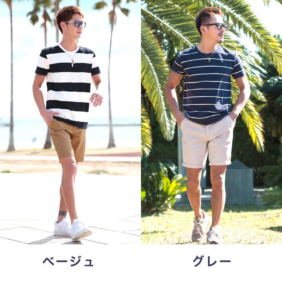 ◆ Roshell Stretch twill pants ◆ cool style/ Men's shorts pants/ half pants/ length 7/ men's fashion/ white pink/ summer pants