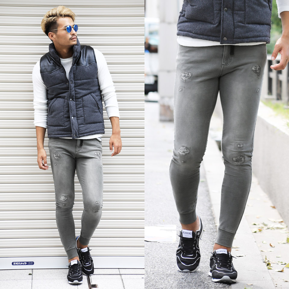 Sweat shirt denim jogger underwear ◆ roshell (Rochelle) crash cut denim jogger underwear ◆ sweat shirt underwear fashion jogger jeans denim men sweatpants bottoms men fashion spring clothes summer clothes surf system