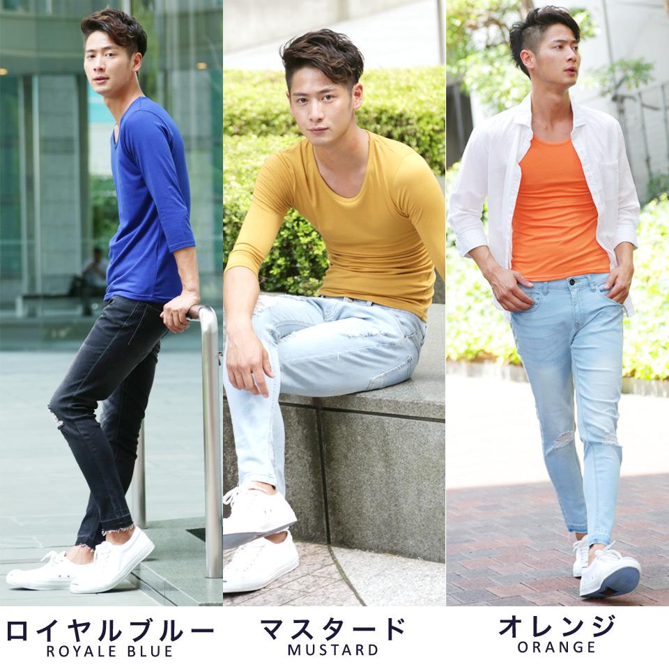 [BUY 2 GET 1 FREE] ◆Roshell U neck 3/4 sleeve T-shirt◆ Men's fashion/ 3/4 sleeve/ long sleeve T-shirt/ U neck/ color/ plain