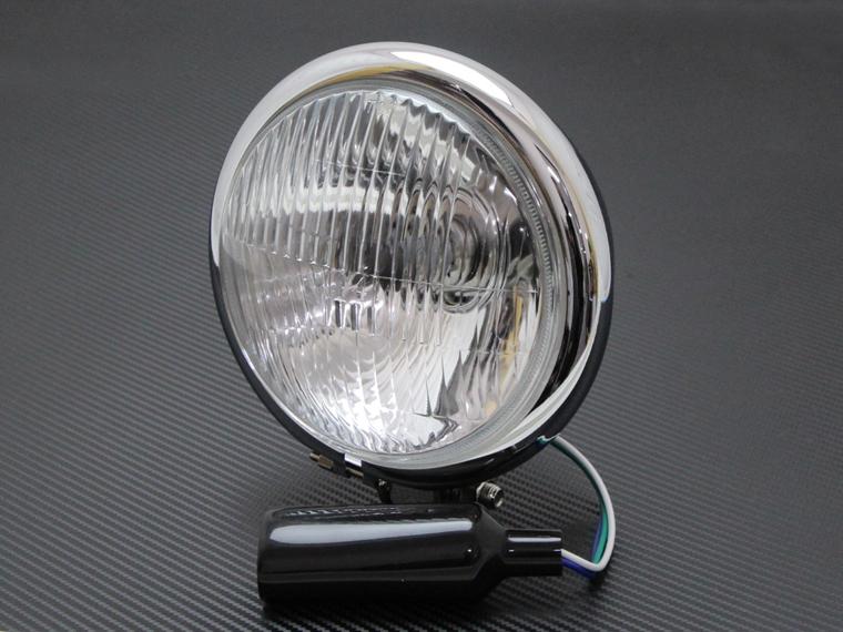 ヘッドライト 5-3/4インチ 5.75インチ ベイツタイプ カットレンズ メッキハウジング クリアレンズ 汎用 スティード シャドウ FTR223 GB250 TW225 SR400 ドラッグスター グラストラッカー エストレア 250TR バルカン W650 W400