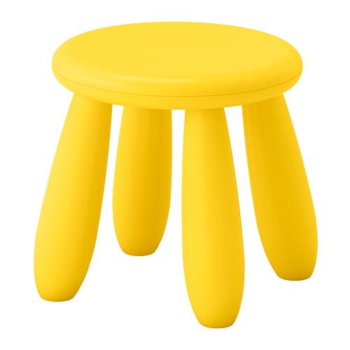 丈夫なプラスチック製 新品■送料無料■ お手入れが簡単 IKEA イケア セール特価 MAMMUT 屋外用 子供用 スツール 室内 イエロー子供用スツール