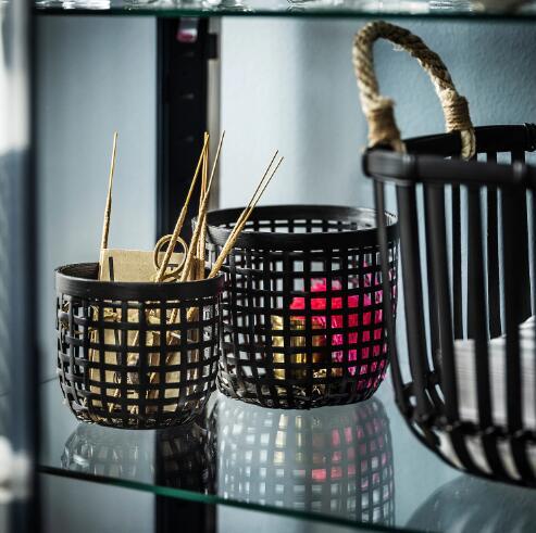 セール 便利な竹製の手編みバスケット 内祝い IKEA イケア LUSTIGKURRE 竹 ブラック ルスティグクルレバスケット2点セット