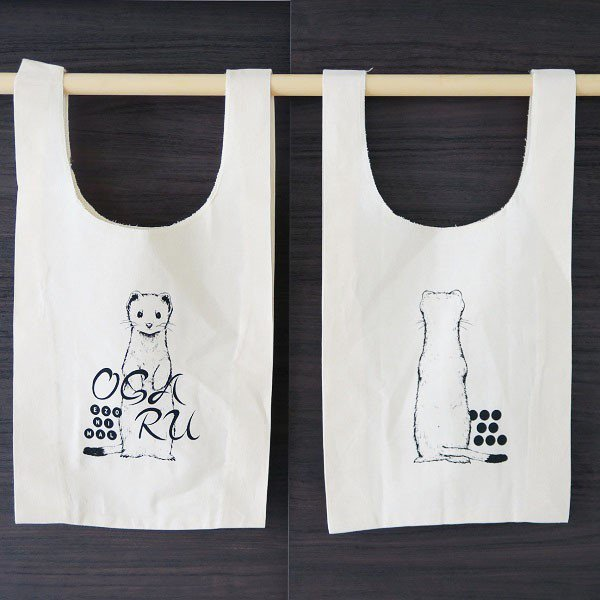北海道の 直営店 動物 × テレビで話題 方言 色 マルシェバッグ エゾオコジョ をテーマに展開するブランド エゾニマル EZONIMAL