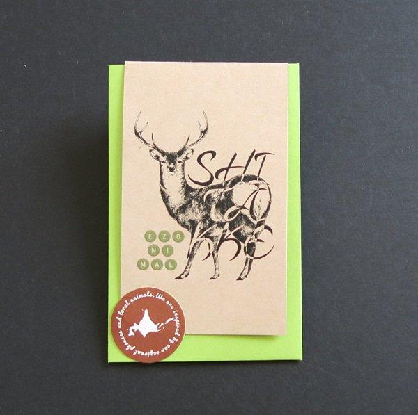 タイムセール 北海道の 動物 × 保証 方言 色 EZONIMAL エゾニマル をテーマに展開するブランド メッセージカード エゾシカ
