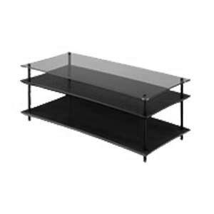 QAVMB/BKGL クアドラスパイア ブラック棚板+透明ガラス棚板・ブラックポール Quadraspire
