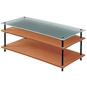 QAVMB/OKBG クアドラスパイア オーク棚板+スリガラス棚板・ブラックポール Quadraspire