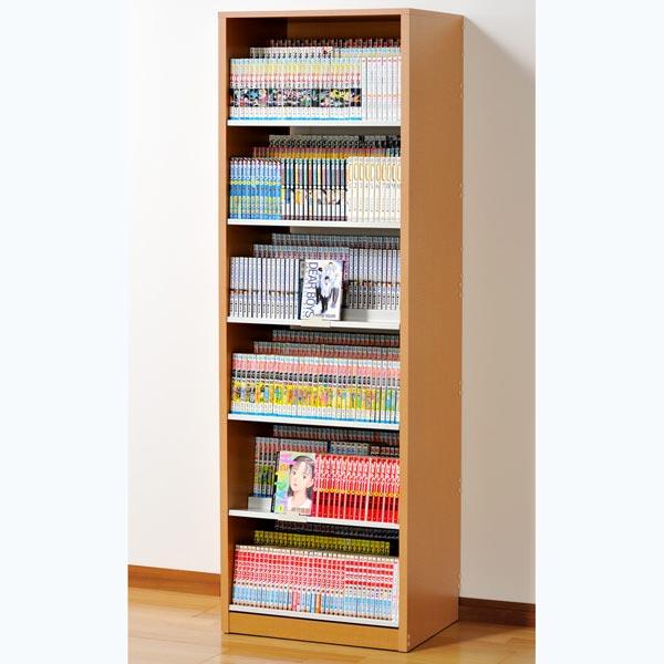 HCS590N オークス ひな段収納コミックラック ナチュラル 収納枚数:最大648冊。DVDも収納可能。