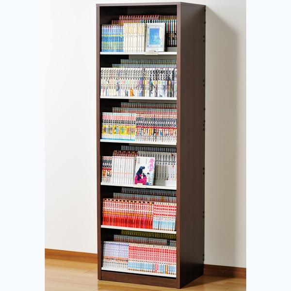 HCS590D オークス ひな段収納コミックラック ウォルナットダーク 収納枚数:最大648冊。DVDも収納可能。