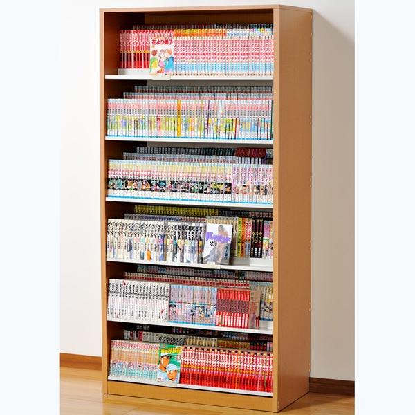 HCS890N オークス ひな段収納コミックラック ナチュラル 収納枚数:最大1008冊。DVDも収納可能。