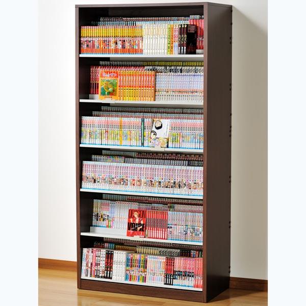 HCS890D オークス ひな段収納コミックラック ウォルナットダーク 収納枚数:最大1008冊。DVDも収納可能。