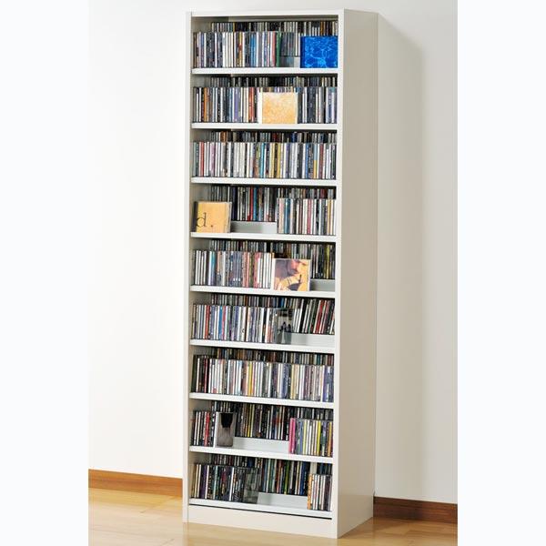 TCS590W オークス タンデムCDストッカー ホワイト 収納枚数:CD最大963枚、DVD最大432枚