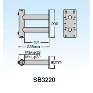 SB3220 マスプロ サイドベース UHFアンテナ+BS・CSアンテナ設置用 MASPRO