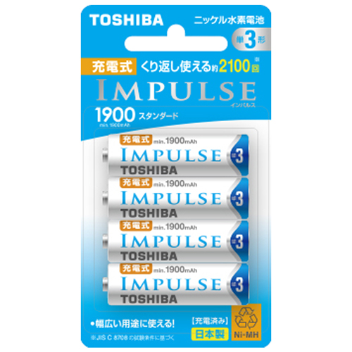 TNH-3ME-4P 東芝 ニッケル水素電池 新作入荷!! 単3形 4本入 待望 スタンダードタイプ IMPULSE TOSHIBA TNH3ME4P