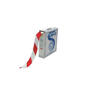 148063 日本緑十字社 ラインテープ(ガードテープ)屋内用 幅50mm×長さ100m(ホワイト/レッド)1巻