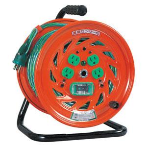 特殊機能付電工ドラム GNFEB34 アース漏電しゃ断器付 アースチェックリール 30m 100V 日動工業