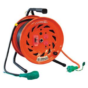 RNDEK30S 日動工業 電工ドラム びっくリール 100V アース過負荷漏電しゃ断器付 30m