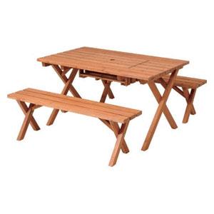 SD09-1032BR 不二貿易 杉材BBQテーブル&ベンチセット(コンロスペース付) 79447