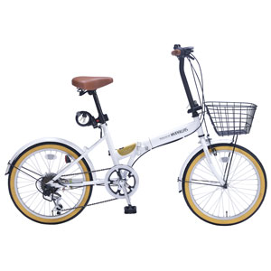 M-252-W マイパラス 折りたたみ自転車 20インチ 6段変速 オールインワン(ホワイト) MYPALLAS
