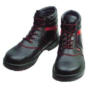 SL22R24.5 シモン 安全靴 編上靴 黒/赤 24.5cm