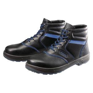 SL22BL26.5 シモン 安全靴 編上靴 黒/ブルー 26.5cm